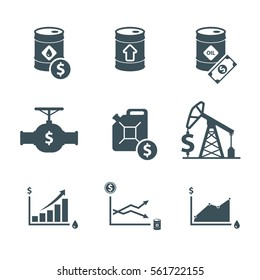 oil price up icon set. crude oil barrel cost. graph growth infographic. isolated on white background