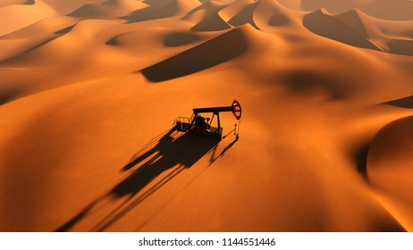 oil pump between sand dunes top view 3d illustration