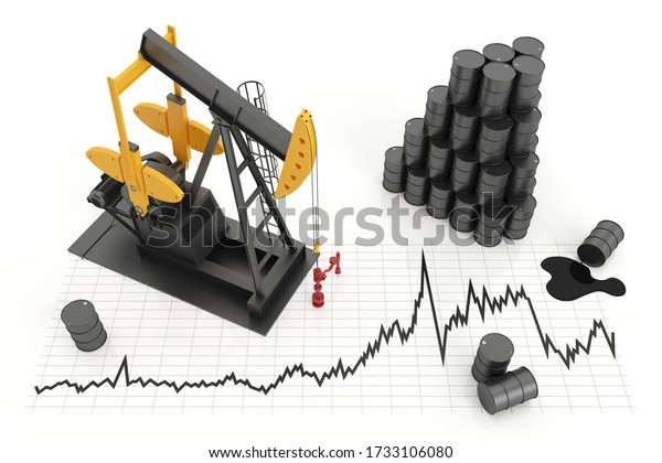 Oil pump jack and oil barrels with chart. The concept of oil production and extraction. 3d illustration