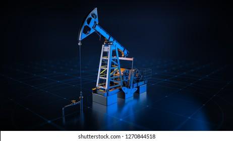 Oil pumpjack in dramatic light. 3D rendering