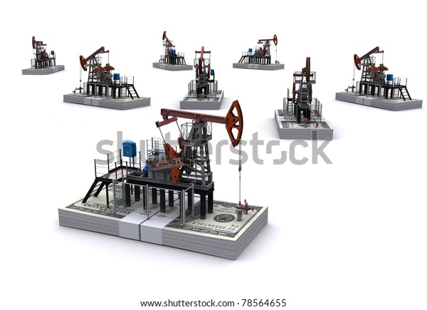 Oil pump-jacks stands on a packs of dollars