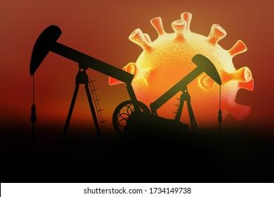 Ölpumpen auf dem Hintergrund der Sonne in Form von Cronavirus. Auswirkungen von Covid-19 auf den Öl- und Gasmarkt. 3d rendern.