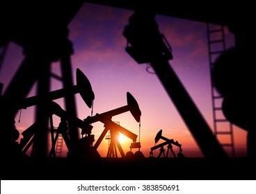 Oil pumps producing oil at dusk. 3D Illustration