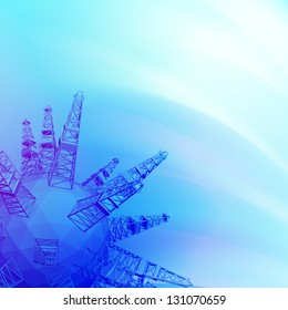 Oil rig with an abstract image of the drill is producing oil.  Illustration.