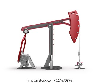 Oil Rig : Pump jack isolated on white