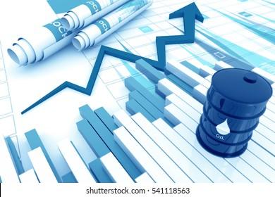 Oil rising price chart.3d render