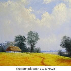 Oil rural paintings landscape. Old village, windmill, Ukraine. Fine art.