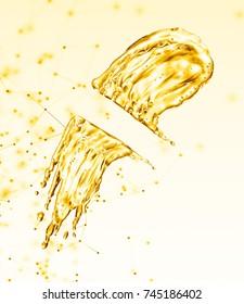 oil splash on gold bokeh background. 3d rendering