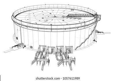 Oil storage tank. 3d illustration. Wire-frame style