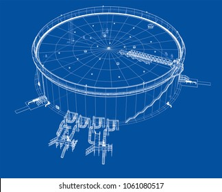 Oil storage tank. 3d illustration. Wire-frame style