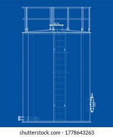 Oil tank outline. 3D illustration. Wire-frame style