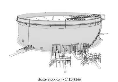 Oil tank rendering in lines. Isolated render on a white background