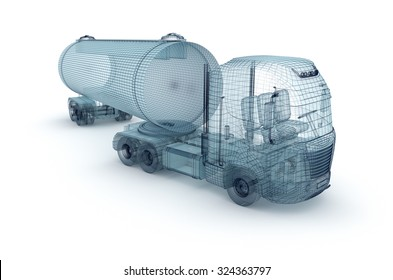 Oil truck with cargo container, wire model.