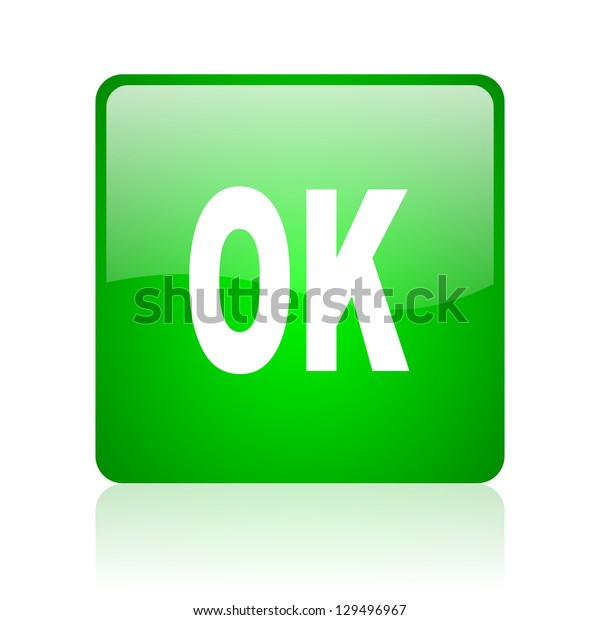 ok green square web icon on white background