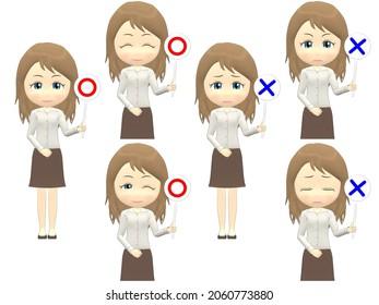 [OK NG B] Caucasian Woman shirts wavy hair front