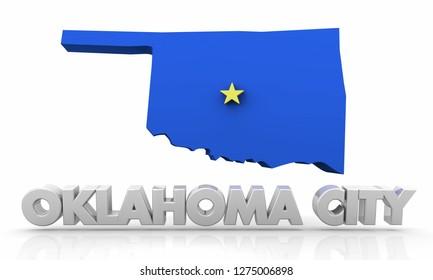 Oklahoma City OK City State Map 3d Illustration