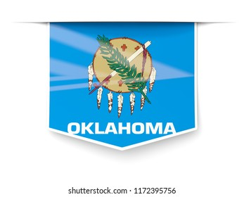 oklahoma state flag square label with shadow. United states local flags. 3D illustration