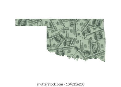 Oklahoma State Map and Money Concept, Hundred Dollar Bills