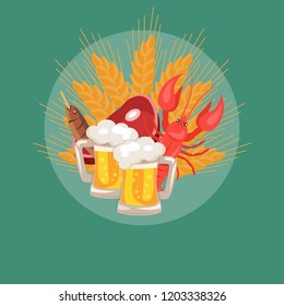 Oktoberfesr logo design with of two pints of beer, snacks piece of ham, dry fish, crayfish and wheat at octoberfest,  Illustration on green