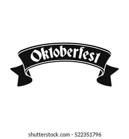 Oktoberfest banner icon in black style isolated on white background. Oktoberfest symbol stock bitmap illustration.