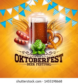 Oktoberfest Banner Illustration with Fresh Beer, Wheat and Hop on Shiny Yellow Background. Traditional German Beer Festival Design Template with Bavaria Party Flag, and Autum Leaves for Greeting Card