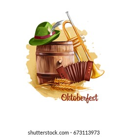 Oktoberfest holiday banner retro things wooden barrel with beer, vintage pipe, accordion, ear of wheat and green hat with feather, festival accessories isolated on white. October holiday celebration