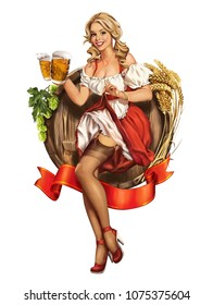Oktoberfest. Illustration in pin-up style, Bavarian girl with two glasses of beer, beautiful blonde, Germany, red dress and stockings, wooden barrel with beer, hops and malt.