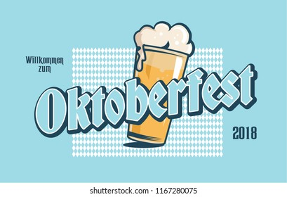 Oktoberfest label. Oktoberfest typography logo for greeting cards and banners. Welcome to Octoberfest 2018. badge template