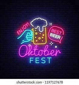 Oktoberfest Neon Logo . Oktoberfest Beer Festival neon sign, design template, modern trend design, night neon signboard, night bright advertising, light banner, light art. illustration.