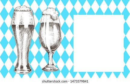 Oktoberfest poster pair of beer goblets with foamy ale graphic art, raster illustration of glassy kitchenware with alcohol drinks, glasses set on banner