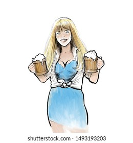oktoberfest smiling beautiful girl blonde holds glasses with beer in her hands illustration print