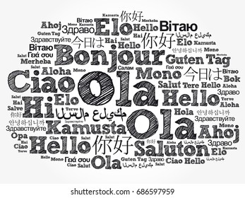 Ola hello greeting portuguese word cloud stock vector hd royalty ola hello greeting in portuguese word cloud in different languages of the world m4hsunfo