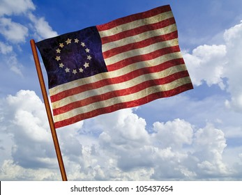 Old 1777 flag of USA waving against blue sky, USA flag for USA Independence Day, USA Betsy Ross flag