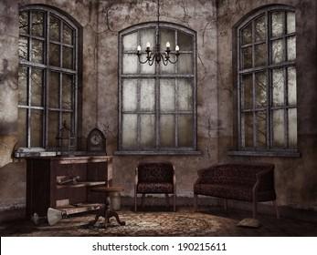Old abandoned living room with vintage furniture