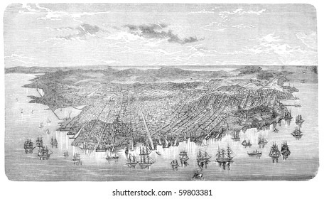 "Old Aerial view of San Francisco, California. Illustration originally published in Hesse-Wartegg's ""Nord Amerika"", swedish edition published in 1880."