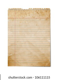 Old, Aged Vintage Note Paper, Blank Sheet Illustration Isolated on White