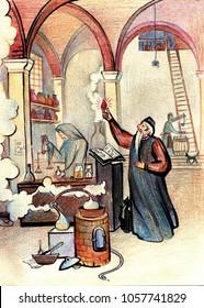 Old Alchemist holding a Sorcerer stone, close cook secret drug faithful disciples in the chemical laboratory