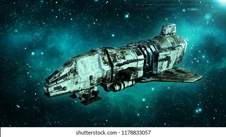 Old alien spaceship in deep space, dirty spacecraft flying in the Universe with stars in the background, UFO, 3D rendering