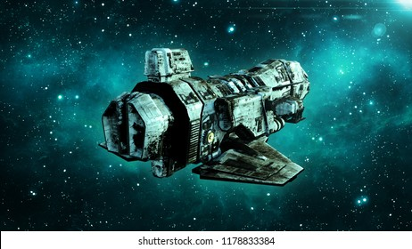 Old alien spaceship in deep space, dirty spacecraft flying in the Universe with stars in the background, UFO rear view, 3D rendering