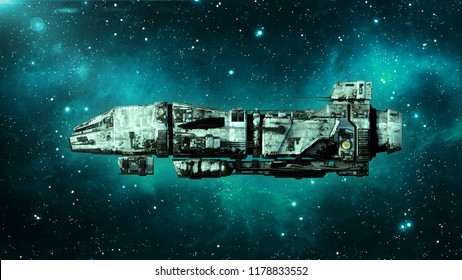 Old alien spaceship in deep space, dirty spacecraft flying in the Universe with stars in the background, UFO side view, 3D rendering