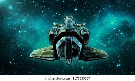 Old alien spaceship in deep space, dirty spacecraft flying in the Universe with stars in the background, UFO back view, 3D rendering