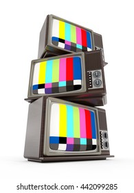 Old analogue television stack with test screen. 3D illustration.
