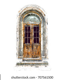 Old Antique Vintage Door - Illustration, Painting - Isolated
