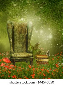 Old armchair and books on a green meadow with poppy flowers
