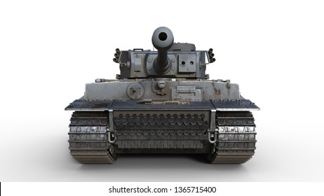 Old army tank, vintage armored military vehicle with gun and turret isolated on white background, front view, 3D rendering