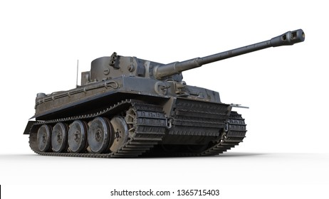 Old army tank, vintage armored military vehicle with gun and turret isolated on white background, bottom view, 3D rendering