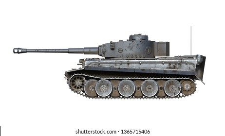 Old army tank, vintage armored military vehicle with gun and turret isolated on white background, side view, 3D rendering