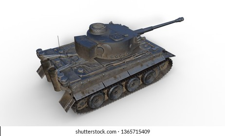 Old army tank, vintage armored military vehicle with gun and turret isolated on white background, top view, 3D rendering