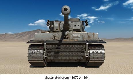 Alter Tank der Armee, gepanzertes Militärfahrzeug mit Gewehr und Turm in Wüstenumgebung, Draufsicht, 3D-Rendering