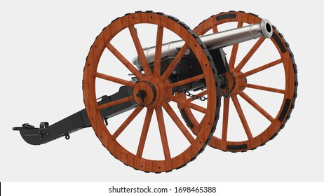 Old artillery cannon isolated on background with mask. 3d rendering - illustration